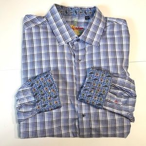 Robert Graham 3XL Blue Plaid Paisley Cuff Shirt